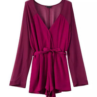 Sexy V-neck Mosaic Long Sleeve High Rise Slim Jumpsuit Romper [4917795012]