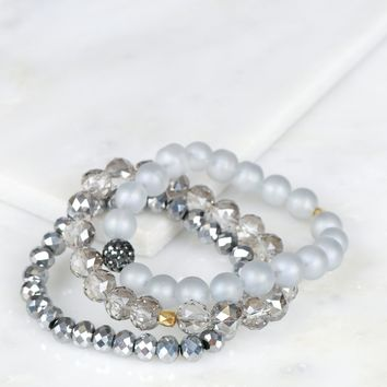 Glitzy Beaded Bracelet Set Grey