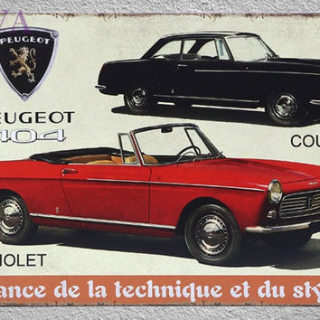 1 pc peugeot 404 cabriolet old car Tin plates man cave vintage tin Signs garage Home Wall Metal Poster Dropshipping plaques