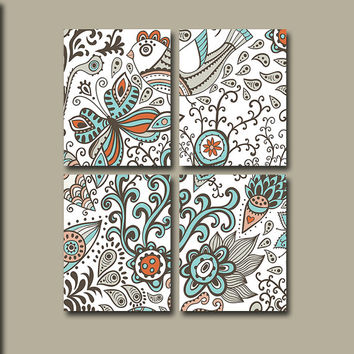 Wall Art Canvas Flourish Pottery Bedroom Decor Bird Flower Aqua Blue Spice Bathroom Design Floral Set of 4 Prints Bedding Shower Curtain