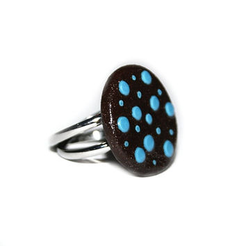 Design modern Ceramic ring - simple black with light blue dots, summer, gift for her, girl, happy and play, black clay