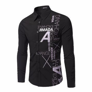 2016 New Arrival Man Shirt Pattern Design Long Sleeve Letter Print Slim Fit Men Casual Shirt Fashion Men's Dress Shirts