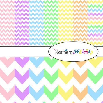 Digital Scrapbooking Paper Background Set – pastel rainbow colored 12x12 sheets in small and large chevron zig zag stripes INSTANT DOWNLOAD
