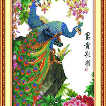 new Wealth peacocks DMC Animals cross stitch kits 14ct  white 11ct  printed embroidery DIY handmade needle work wall home decor