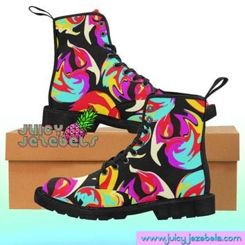 SWIRLS AND TWIRLS Combat Boots Rave Clothing Music Festival Clothing Rave Outfit Women Burning Man Clothing Rave Wear Psychedelic Clothing