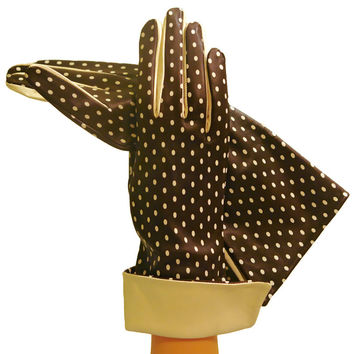 Brown/Beige Self-indulgent Polka Dot Womens Silk-lined Leather Gloves