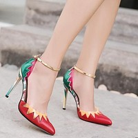 Color Block Pointed Tod Low Cut Ankle Wrap Stiletto High Heels Party Shoes