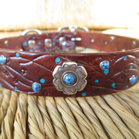 Chocolate Leather Dog Collar with Flower Concho