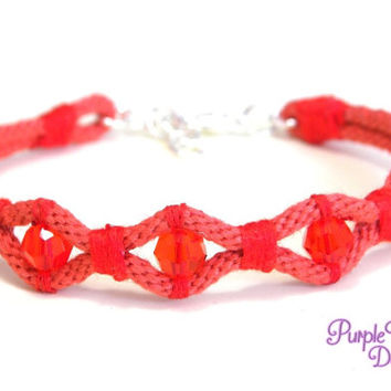 WAVE Kumihimo Bracelet with Crystal Beads, Braided Rope Bracelet with Swarovski Beads - Coral Red