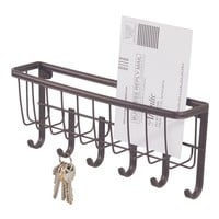 InterDesign York Lyra Wall Mount Mail and Key Rack, Bronze