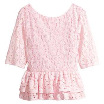 H&M - Lace Peplum Top - Pink - Ladies