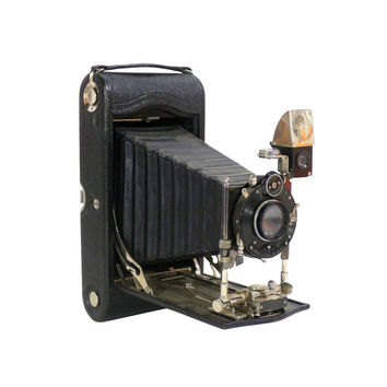 Old Kodak 3a Folding Pocket Camera, Bausch & Lomb Compound Lens, Antique Photography