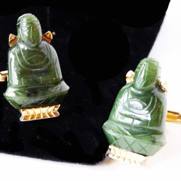 Vintage SWANK Jade Buddha Cufflinks Rare Unusual Carved Gemstone Lucky Novelty Cuff Links - Mens Mid Century 1950s Asian Inspired Jewelry