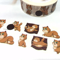 lovely cat washi tape 5M cartoon cat fat cat kawaii pet cat brown cat sleepy cat Little kitten pussy cat decor deco masking sticker tape
