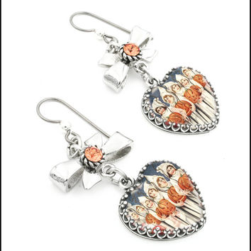 Halloween Earrings, Heart Drop Earrings, Halloween Dangle Earring, Ghosts Dangle Earrings, Pumpkin Crystal Earrings, Orange Earrings