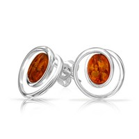 Bling Jewelry Simple Amber Studs