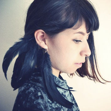Raven Black Crow Feather Ear Cuff by francisfrank on Etsy