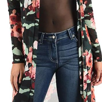 Funfash Plus Size Women Black Floral Mesh Kimono Duster Cardigan Made in USA