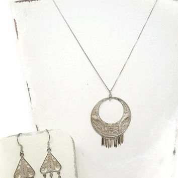 Vintage Bohemian Silver Filigree Necklace and Earring Set, 1970's Hippie Jewelry, Boho Chic Necklace, Bohemian Earrings, Boho Bridal Jewelry
