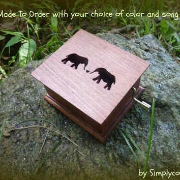 wooden music box, elephant music box, elephant, music box, custom made music box, musical box, personalized music box, simplycoolgifts