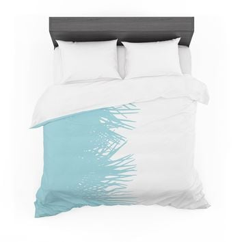 "Project M ""Side Palm Blue"" Blue White Digital Featherweight Duvet Cover"