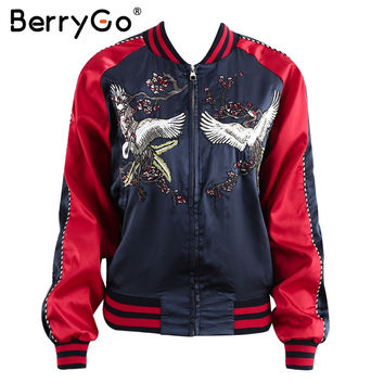 BerryGo Satin embroidery jacket coat Autumn winter cool basic jacket women Casual baseball jackets streetwear sukajan 2017 new