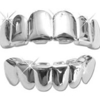 Hip Hop Platinum Silver Plated Removeable Mouth Grillz Set (top & Bottom)
