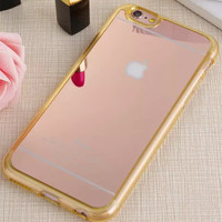 Luxury mirror women  fashion mobile phone  case for iphone 5 5S / 6 6S / 6 6S Plus  Color; Gold,Rose Gold ,Silver