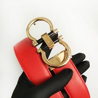 Ferragamo fashion casual men's and women's belts are hot sellers Red belt+Gold buckle