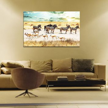 canik138 Canvas Print Stretched African antelope impala zebra animals 26x43""