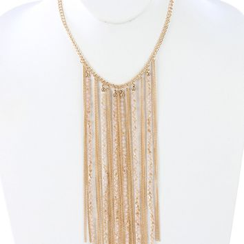 Iridescent Glass Bead Long Chain Fringe Bib Necklace