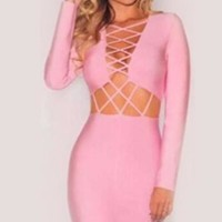 Long Sleeve Laced Bandage Dress - Pink