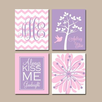 PINK PURPLE Nursery Wall Art, CANVAS or Prints Baby Girl Nursery Wall Art, Monogram Flower Tree Bird Girl Bedroom Kiss Me Goodnight Set of 4