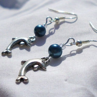 "Silver Dolphin Earrings with Blue Pearl Beads & Clear Crystal Beads, ""Sarah"""