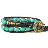 Black Leather Double Wrap Bracelet Czech Glass Green Bronze Beads and Owl Button
