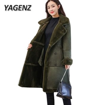 2018 New Fashion Suede lamb Wool Women Coats Double breasted Warm Solid Thick Long Overcoat Casual Winter Cotton Jackets Female