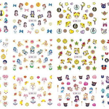 12 Sheets/Lot Nail BN457-468 Cartoon Sailor Moon Nail Art Water Sticker Decal For Nail Water (12 DESIGNS IN 1)