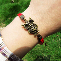 Two Red Leathers Ancient Bronze owl Chain Women by braceletcool