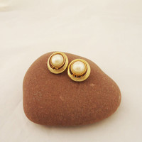 Vintage Signed Soleil Clip on Earrings, Soleil Faux Pearls Clip on Earrings, Designer Costume Jewelry