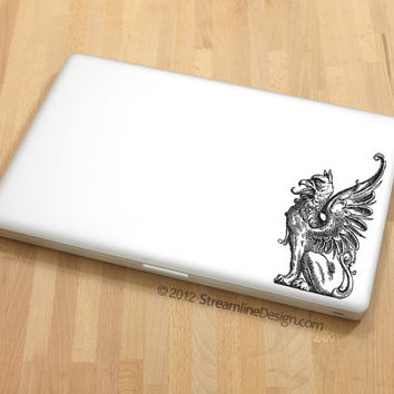 Griffin Vinyl Laptop or Automotive Art FREE SHIPPING computer art geekery mythical creature sticker gryphon decal notebook netbook sticker