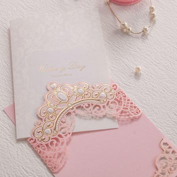 Royal Pink Laser Cut Wedding Invitations Cards With Gold Embossed Hollow Flora Design for Bridal Shower Free Customized