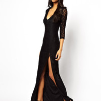 Black V-neck Lace and Mesh Maxi Dress With Slit