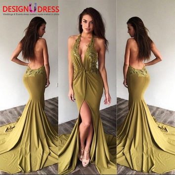 2017 Cheap Sexy Backless Long Mermaid Prom Evening Dresses Robe de Soiree Halter V Neck Appliques Formal Party Gowns