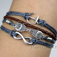 Infinity bracelet,owls bracelet ,anchor bracelet,infinity love,cute owls,braid leather,antique silver,friendship christmas gift,