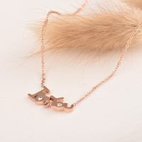 Fashion Gold Alphabets Words Pendant Necklace Jewelry Accessories Collarbone Chain _ 8511