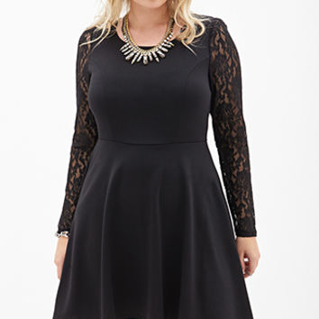 FOREVER 21 PLUS Lace Fit & Flare Dress Black