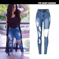 Women's Fashion Hot Sale Slim Stretch Denim Ripped Holes Pants Plus Size Skinny Pants [6451819396]