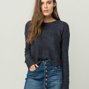 EYESHADOW Nubby Scallop Womens Sweater