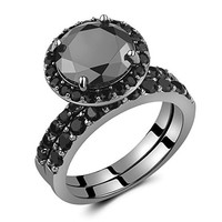 Caperci Black Sterling Silver 925 Black Round Diamond Spinel Solitaire Wedding Ring Bridal Set Size 5