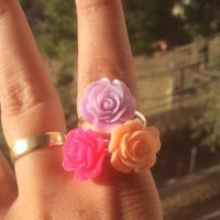 Light orange purple pink rings,flower rings,set of 3 rings